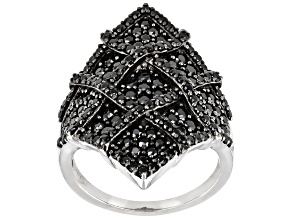 Pre-Owned Black Spinel Rhodium Over Sterling Silver Ring 1.18ctw