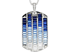 Pre-Owned Blue & White Cubic Zirconia Rhodium Over Sterling Silver Cluster Pendant With Chain 3.83ct
