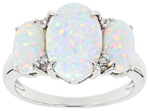 Pre-Owned Multicolor Lab Created  Opal Rhodium Over Sterling Silver Ring 0.03ctw