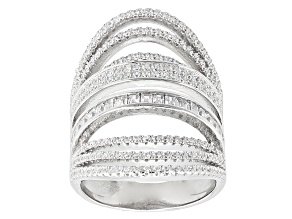 Pre-Owned White Cubic Zirconia Rhodium Over Sterling Silver Ring 3.02ctw