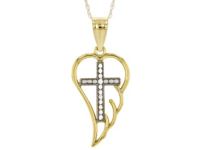 Pre-Owned 10K Yellow Gold with White Rhodium Accent Cross Angel Wing Pendant with 18 Inch Chain