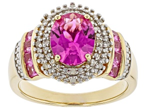 Pre-Owned Lab Created Pink Sapphire 14k Yellow Gold Over Silver Ring 2.43ctw