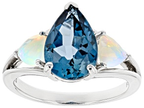 Pre-Owned London Blue Topaz Rhodium Over Sterling Silver 3-Stone Ring 3.66ctw
