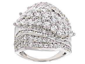 Pre-Owned Cubic Zirconia Rhodium Over Sterling Silver Ring 5.10ctw (3.25ctw DEW)
