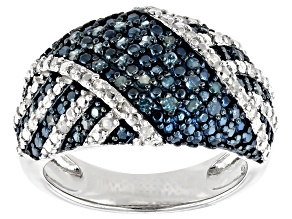 Pre-Owned Blue And White Diamond Rhodium Over Sterling Silver Ring 0.50ctw
