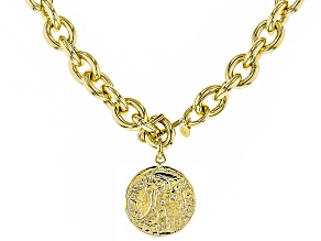 Pre-Owned 18k Yellow Gold Over Bronze Rolo Coin 40 inch Necklace