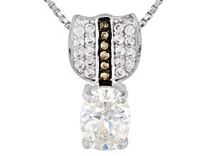 Pre-Owned Fabulite Strontium Titanate Silver, Champagne Diamond And White Zircon Pendant 1.72ctw