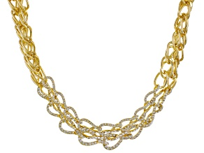 Pre-Owned White Crystal Gold Tone Multi Chain Statement Necklace