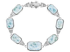 Pre-Owned Blue larimar rhodium over sterling silver bracelet
