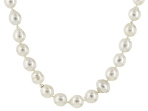 Pre-Owned White Cultured South Sea Pearl Rhodium Over Silver Strand Necklace 11-15mm