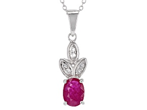 Pre-Owned Red Ruby Sterling Silver Pendant With Chain 1.00ctw