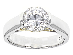 Pre-Owned Cubic Zirconia Silver And 18k Yellow Gold Over Silver Ring 3.15ct (2.04ct DEW)