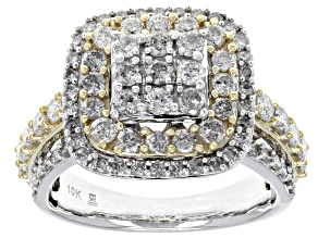 Pre-Owned Diamond 10k Yellow Gold Ring With 10k Yellow Gold Rhodium Enhanced Settings 2.00ctw