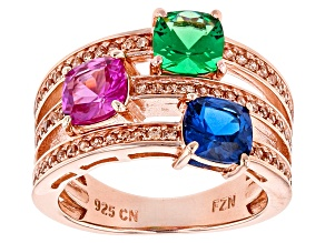 Pre-Owned Red Green Blue And Brown Cubic Zirconia 18k Rose Gold Over Silver Ring 3.68ctw