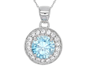 Pre-Owned Blue Zircon 10k White Gold Pendant With Chain 2.17ctw