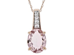 Pre-Owned Pink Morganite 10k Rose Gold Pendant With Chain 1.39ctw