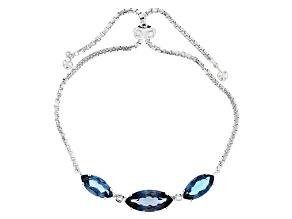 Pre-Owned Blue London Blue Topaz Silver Bolo Bracelet 7.08ctw