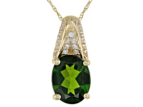 Pre-Owned Green Russian Chrome Diopside 10k Yellow Gold Pendant With Chain 1.75ctw