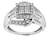 Pre-Owned White Diamond 10k White Gold Ring .75ctw