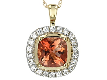 Picture of Pre-Owned Orange Oregon Sunstone 10k Yellow Gold Pendant With Chain 1.02ctw.