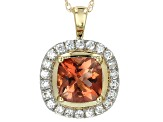 Pre-Owned Orange Oregon Sunstone 10k Yellow Gold Pendant With Chain 1.02ctw.