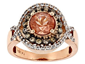 Pre-Owned Orange Oregon Sunstone 10K rose gold ring 1.96ctw
