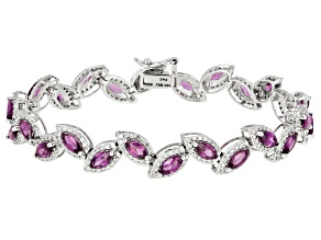 Pre-Owned Grape Color Garnet & White Diamond 14K White Gold Tennis Bracelet 7.79ctw