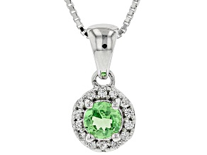 Pre-Owned Green tsavorite rhodium over sterling silver pendant with chain .53ctw