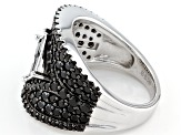 Pre-Owned Black Spinel Sterling Silver Ring 3.39ctw