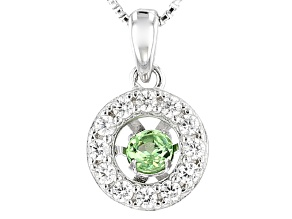 Pre-Owned Green Dancing Tsavorite Sterling Silver Pendant With Chain .64ctw