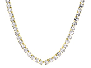 Pre-Owned White Cubic Zirconia 18k Yellow Gold Over Sterling Silver Necklace 102.93ctw