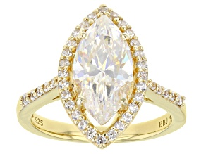 Pre-Owned Fabulite Strontium Titanate with white zircon 18k yellow gold over silver ring. 3.81ctw.
