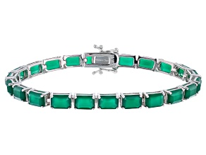 Pre-Owned Green Onyx Rhodium Over Sterling Silver Tennis Bracelet