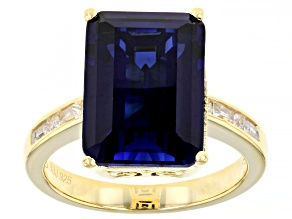 Pre-Owned Lab Created Blue Sapphire 18k Yellow Gold Over Sterling Silver Ring 8.94ctw