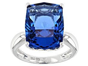 Pre-Owned Lab Created Blue Spinel Rhodium Over Sterling Silver Solitaire Ring 9.17ct