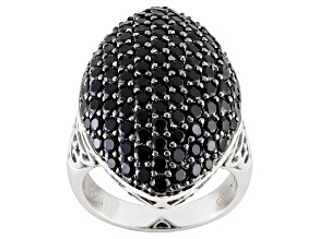 Pre-Owned Black Spinel Sterling Silver Ring 4.11ctw
