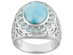 Pre-Owned Blue Larimar Sterling Silver Ring 1.10ctw