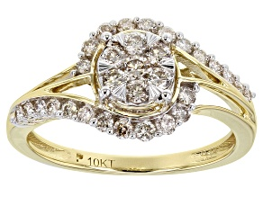 Pre-Owned White Diamond 10K Yellow Gold Ring 0.60ctw
