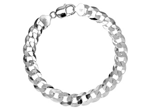 Pre-Owned Sterling Silver Diamond-Cut 10.6MM Curb Link 9 Inch Bracelet