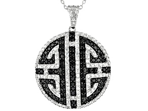 """Pre-Owned White Zircon With Black Spinel Rhodium Over Sterling Silver Pendant With 18"""" Chain 3.04ctw"""