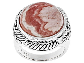 Pre-Owned Round Cabochon Rhodochrosite Sterling Silver Ring