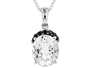 Pre-Owned White Goshenite Sterling Silver Pendant With Chain 3.65ctw