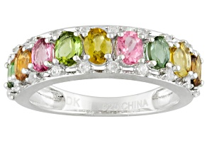 Pre-Owned Multi-Tourmaline Rhodium Over Sterling Silver Band Ring 1.70ctw