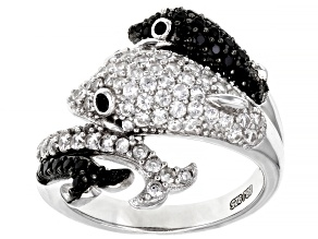 """Pre-Owned White Zircon Rhodium Over Sterling Silver """"Dolphin"""" Ring 1.33ctw"""