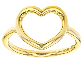 Pre-Owned 18K Yellow Gold Over Sterling Silver Open Heart Design Ring