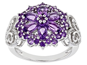 Pre-Owned Purple Amethyst Rhodium Over Sterling Silver Ring 1.73ctw