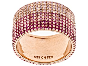 Pre-Owned Lab Created Pink Sapphire & Pink Cubic Zirconia 18K Rose Gold Over Silver Band Ring 4.86ct