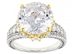 Pre-Owned White Cubic Zirconia Rhodium Over Sterling Silver Two-Tone Holiday Ring 15.45ctw