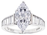 Pre-Owned White Cubic Zirconia Rhodium Over Sterling Silver Ring 4.65ctw