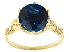 Pre-Owned London Blue Topaz 18k Yellow Gold Over Sterling Silver Solitaire Ring 4.00ct